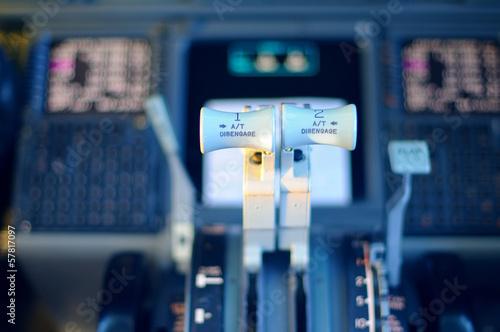 Fotografia  Commercial aircraft panel at night