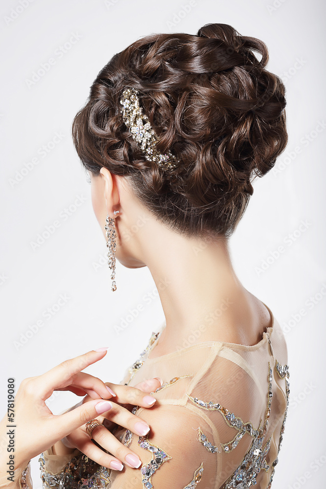 Refinement. Sophistication. Stylish Woman with Festive Coiffure Poster