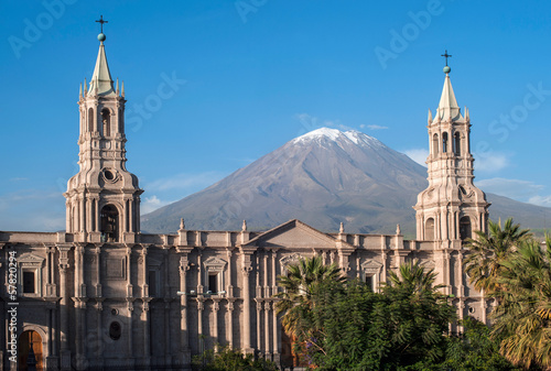 Volcano El Misti overlooks the city Arequipa in southern Peru Wallpaper Mural