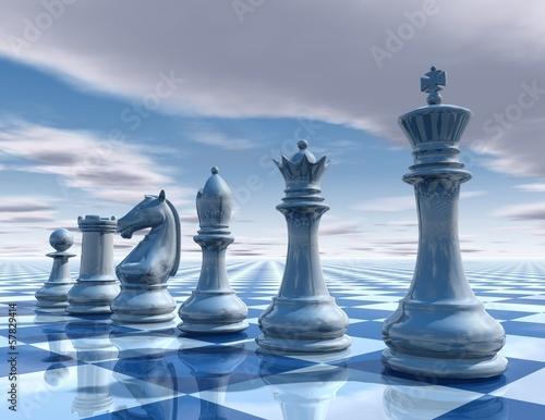 Tableau sur Toile Fond surréaliste d'échecs avec illustration de ciel et échiquier