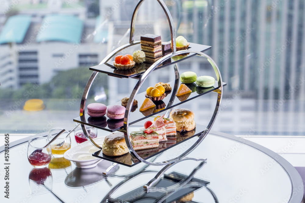 Fototapety, obrazy: A afternoon tea set consisting of a collection of pastries