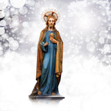 jesus christ,statue, Christmas,white snow  background