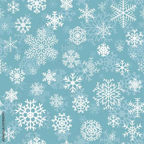 Stoffe zum Nähen Weihnachten Musterdesign aus Schneeflocken auf Türkis