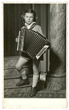 Girl With Accordion - Circa 1955