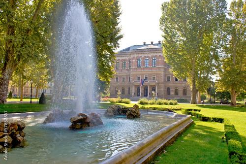 Autocollant pour porte Fontaine Zrinjevac square , park in Zagreb