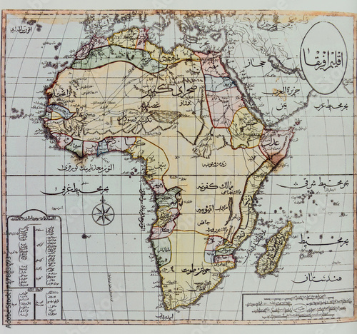 Historical map of Africa Canvas Print