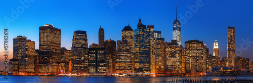 Night New York City skyline panorama