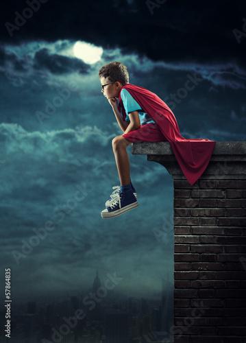 Fotobehang Volle maan Little Superhero