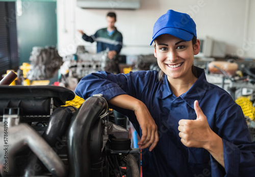 Happy trainee showing thumb up