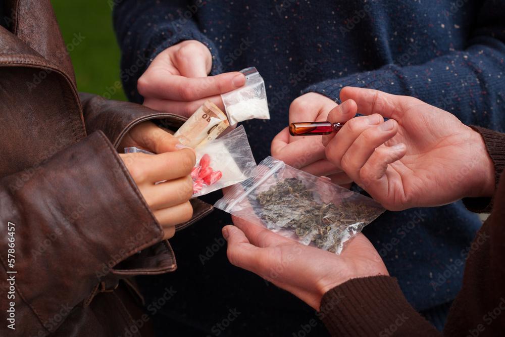 Fototapeta Drug dealer selling drugs