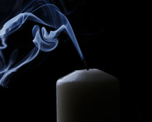 Extinguished Candle With Blue ...
