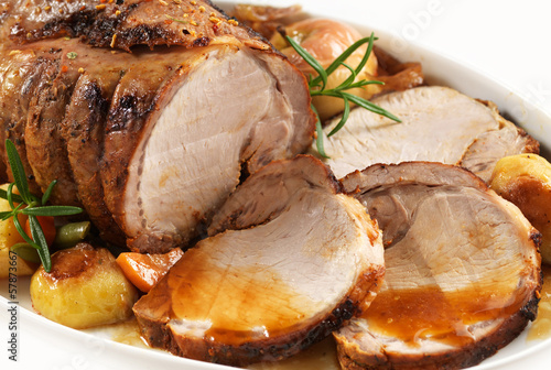 Photo  roasted pork