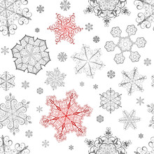Christmas Seamless Pattern Of Red And Gray Snowflakes