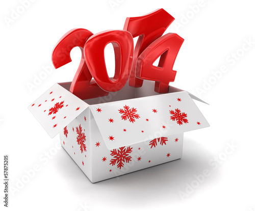 New year 2014 in box (clipping path included) Wallpaper Mural