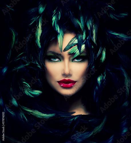 Poster - Mysterious Woman Portrait. Beautiful Model Woman Face Closeup