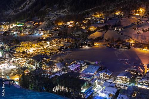 Foto op Aluminium Scandinavië Mountains ski resort Solden Austria at sunset