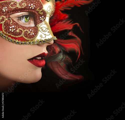 Fotografie, Obraz  Close up portrait of woman in red mask.