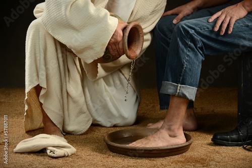 Fototapeta Jesus Washing Feet of Man in Jeans obraz