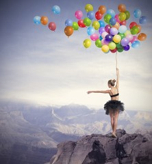 Fototapeta Taniec / Balet Dancer with balloons
