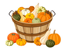 Wooden Basket With Pumpkins. V...