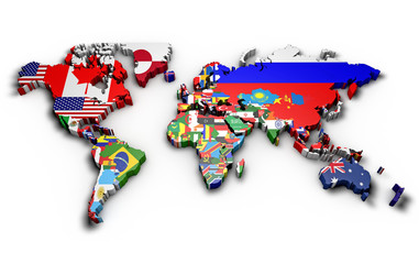 Fototapeta Planisfero mondo 3d con bandiere in rilievo