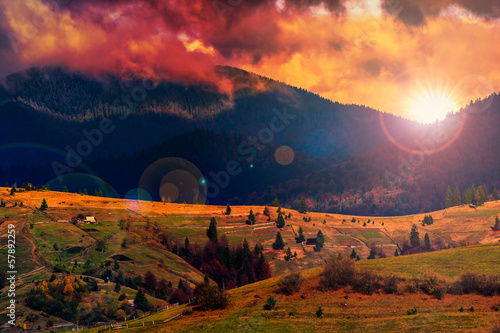 autumn hillside with red and yellow forest