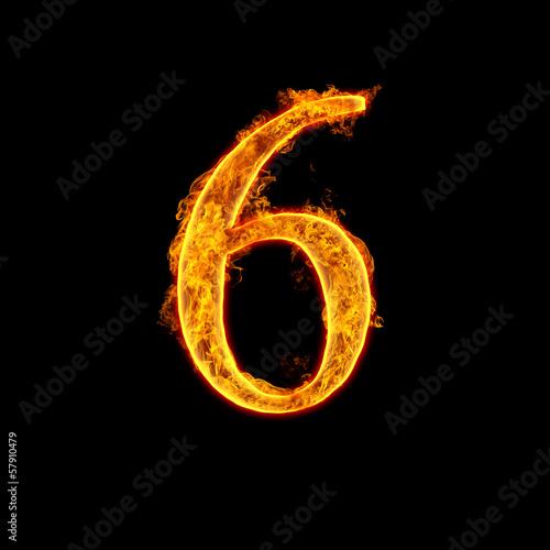 Photographie  Fire alphabet number 6 six