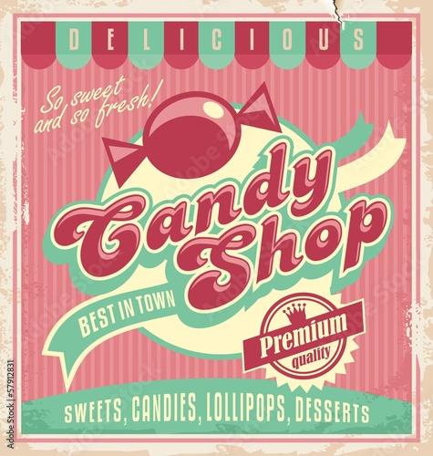obraz lub plakat Vintage plakat szablon candy shop