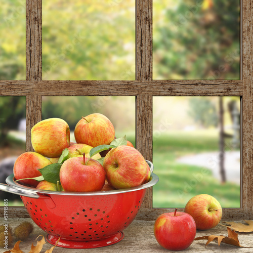 Apples in colander on wooden window with view