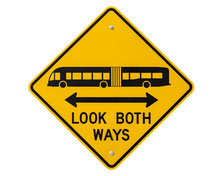 Look Both Ways Bus And Tram Warning Sign Isolated