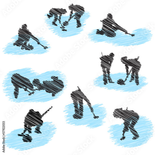 Fotografia Set of curling player grunge silhouettes