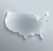 USA map glass card paper 3D america united states