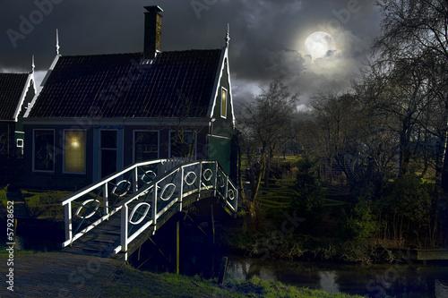 Poster Pleine lune village. Netherlands