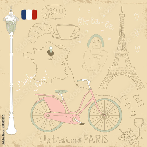 Poster Doodle Vector set of Paris symbols on vintage old papers.