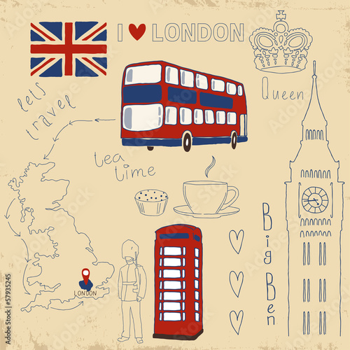Photo sur Toile Doodle Vector set of London symbols on vintage old papers.