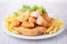 Fish And Chips With Salad And ...
