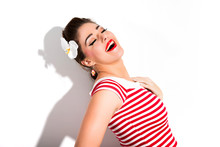 Sexy Retro Pin-up Girl With Re...