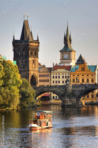 Photo  Charles Bridge and architecture of the old town in Prague, Czech