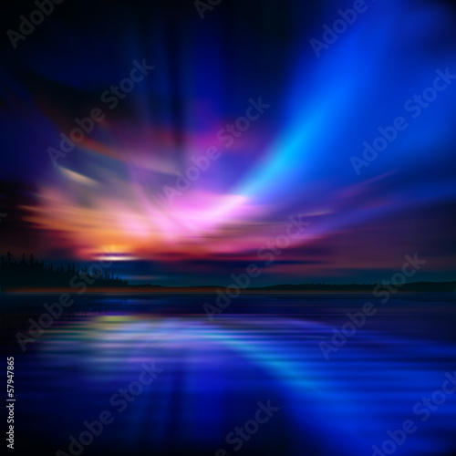 Photo  abstract background with sunset and mountains