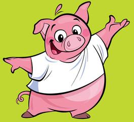 Cartoon happy pink pig character presenting wearing a T-shirt