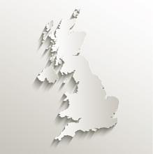 Great Britain United Kingdom Map Card Paper 3D Natural