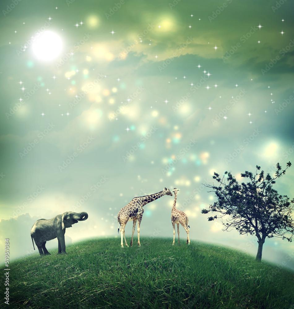 Giraffes and elephant on a hilltop