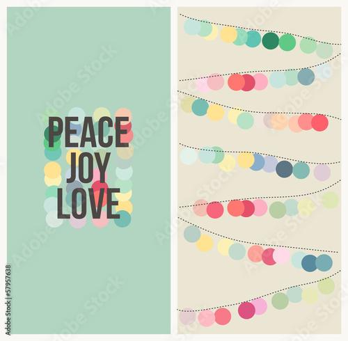 Fotografia  Peace love joy. Multicolored Christmas vector design