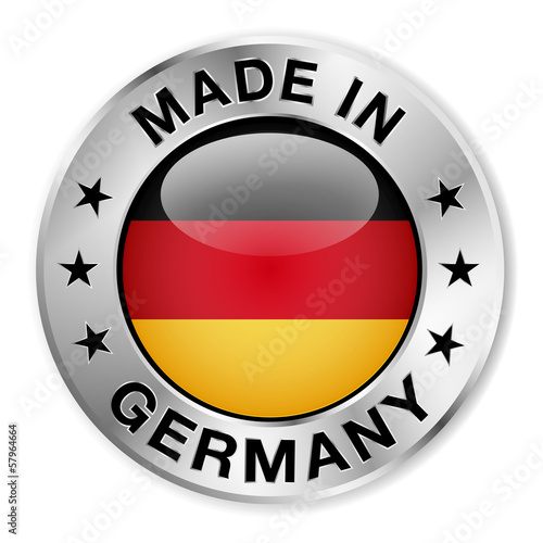 Made In Germany Silver Badge Poster Mural XXL