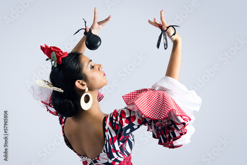 Fotografie, Obraz  Flamenco tanečnice v krásné šaty