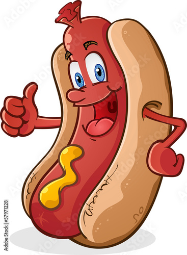 Fotografiet Hot Dog Thumbs Up Cartoon Character