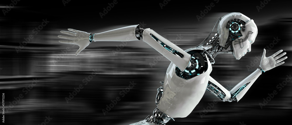 Fototapeta robot android runnning speed concept
