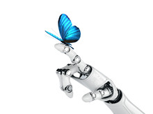 Robot Hand And Butterfly