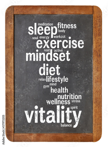 Fotografia  vitality  word cloud on blackboard