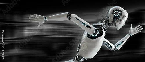 robot android runnning speed concept Fototapet